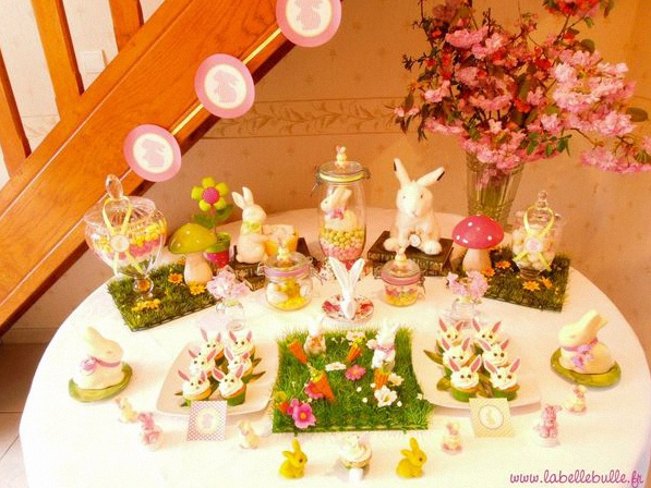 Une sweet table alice au pays des merveilles pour un - Decoration table de paques ...