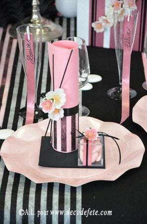 Une d coration de bapt me sur le th me couture coco chanel - Deco de table noir et rose ...