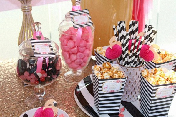 candy bar bapteme flamant rose