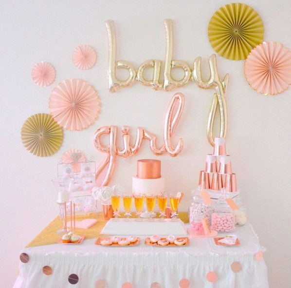 décoration sweet table baptême rose gold baby girl
