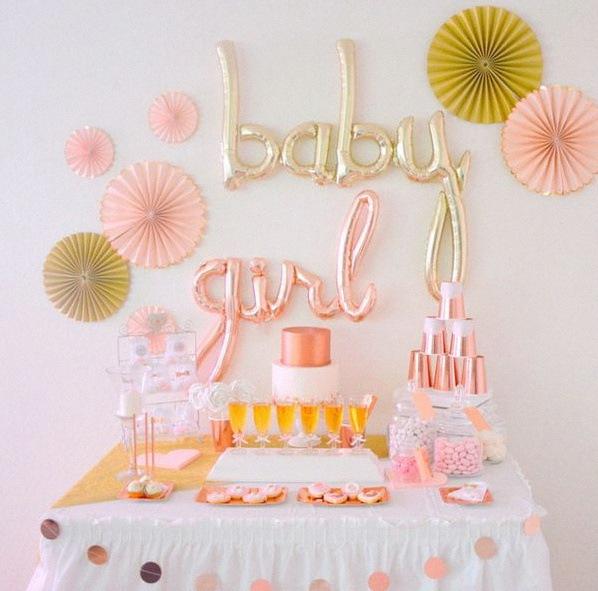 décoration sweet table baptême rose gold baby girl