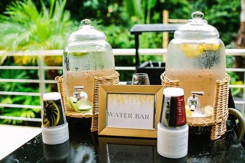 bar à eau réception buffet