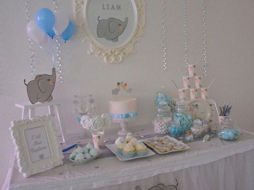 décoration bapteme laique sweet table elephant