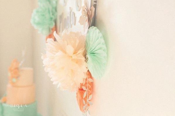 décoration bapteme peche mint vert d'eau