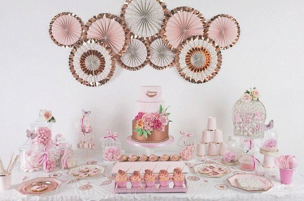 bapteme liberty rose gold civil sweet table