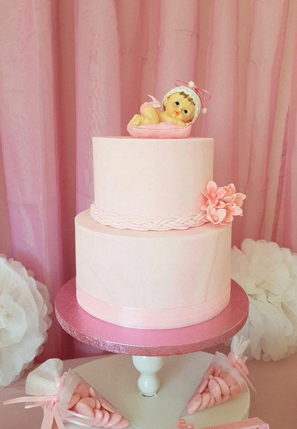 gâteau de baptême design cake rose