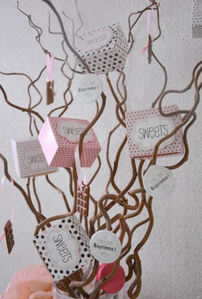 arbre à dragees rose bapteme chocolat gourmandises