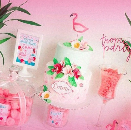 design cake flamingo gateau de bapteme