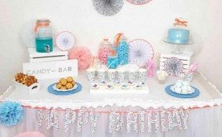 Le candy bar liberty du baptême anniversaire de Julia